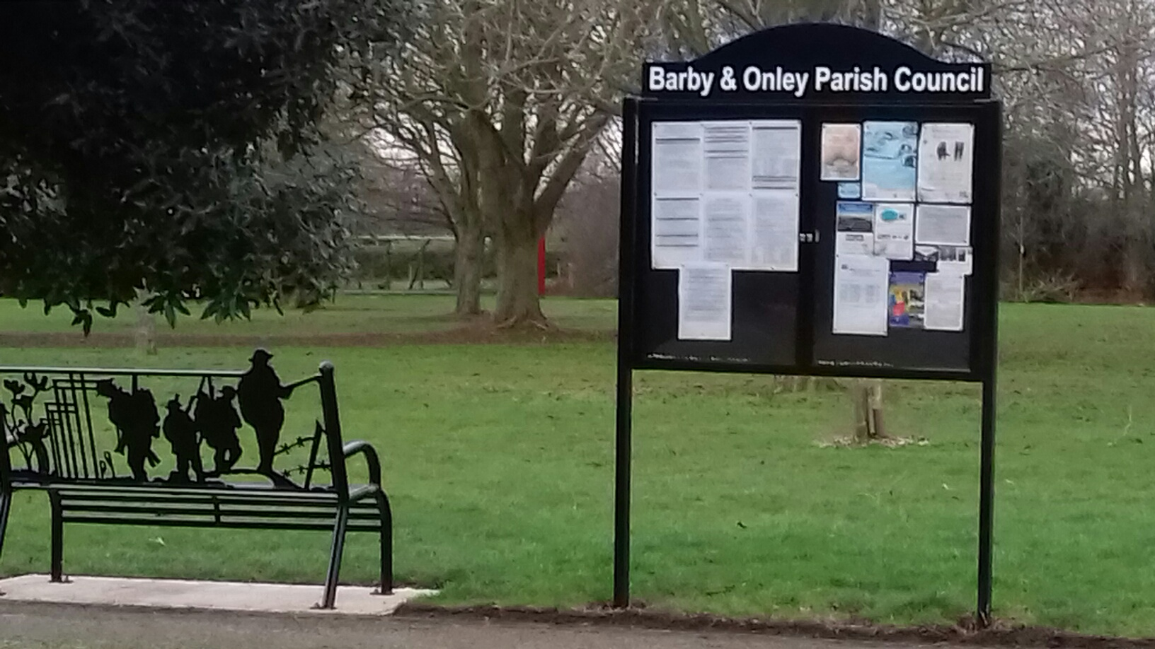 Memorial Bench and New Notice Board at Onley February 2019